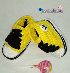 Baby Shoes, Newborn Shoes, Baby Sneakers, Babyshower, Converse, Crochet Shoes, Crochet Baby Booties, Yellow, Gift, Allstar, Baby Gift