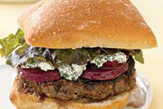 Goat Cheese Burgers with Beets.but beets and goat cheese are so good together. Best Burger Recipe, Burger Recipes, Burger Ideas, Beet Recipes, Healthy Recipes, Healthy Gourmet, Lamb Recipes, Recipies, Bruschetta