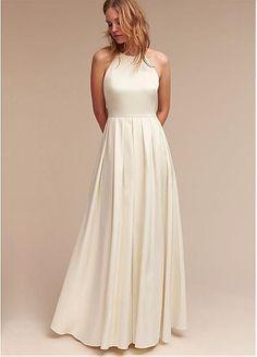 Simple Satin Halter Neckline A-Line Wedding Dresses