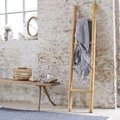 Tikamoon Varnished Bamboo Towel Holder Ladder Rack Stand Accessories Bathroom