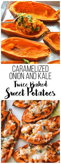These Caramelized Onion & Kale Twice Baked Sweet Potatoes are packed with flavor and topped with gruyere cheese! All clean eating ingredients are used for this healthy sweet potato recipe. Whole Food Recipes, Vegetarian Recipes, Cooking Recipes, Healthy Recipes, Twice Baked Sweet Potatoes, Good Food, Yummy Food, Sweet Potato Recipes, Vegetable Recipes