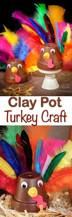 Looking for Last minute Thanksgiving crafts? You will love this easy Clay Pot Turkey Craft using a Terra cotta pot! It makes a fun craft for kids or adults!  via @2creatememories