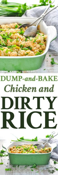 Add a bit of Cajun spice to your next weeknight dinner with this easy Dump-and-Bake Chicken and Dirty Rice! One Pot Meals | Chicken Breast Recipes | Easy Dinner Recipes | Mardi Gras #cajun #creole #chicken #rice #onepot #dinner #TheSeasonedMom