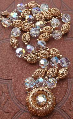 Gorgeous Vintage 3 Strand AB Crystal and Ornate Filigree Bracelet ~ #Vintage #Jewelry #VintageWedding #Wedding #Bridal #VintageBridal #Fashion #Style #Bridesmaids #MotherOfTheBride #Crystal #Bracelet #Design by StarliteVintageGems ~ SOLD