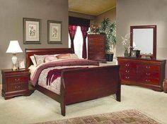 Louis Philippe King Size Sleigh Panel Bed in Cherry Bedroom Furniture Sets, Bedroom Sets, Garden Furniture, Empire Furniture, Night And Day Furniture, Best Platform Beds, Sleigh Beds, Queen Bedroom, Bed Wall