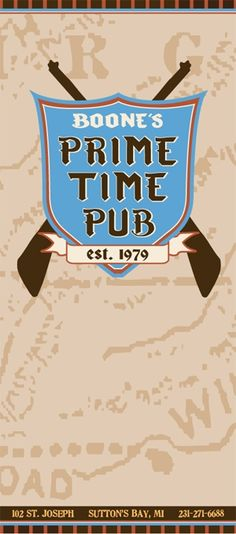 Boone's Prime Time Pub   Menu-lunch or dinner during wine tour