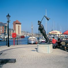 Statue of Captain Cat from Under Milk Wood at Swansea Marina © Crown copyright Visit Wales Swansea Marina, Gower Peninsula, Visit Wales, Travel And Leisure, South Wales, Monte Carlo, Day Trip, Surfboard, Celtic
