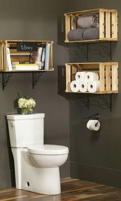 Diy Decor, Crate Furniture, Diy Home Decor, Home Diy, Diy Bathroom Decor, Diy Furniture, Backyard Renovations, Small Bathroom Decor, Diy Bathroom Storage