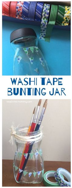 Make a Washi tape bunting jar for storage or as a gift!