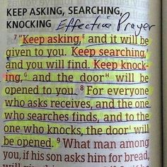 I have my Momma's Bible when she died; and she has scriptures she has marked and high lighted in her Bible like this! Prayer Scriptures, Bible Prayers, Prayer Quotes, Bible Verses Quotes, Spiritual Quotes, Faith Quotes, Faith Bible Verses, Inspiring Bible Verses, Positive Bible Verses