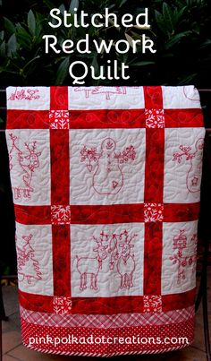 how to make a stitched redwork quilt Archives - Pink Polka Dot Creations Quilting Tutorials, Quilting Projects, Quilting Designs, Christmas Quilt Patterns, Christmas Sewing, Christmas Quilting, Christmas Crafts, Folk Embroidery, Christmas Embroidery