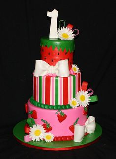 Adorable strawberry-themed birthday cake!