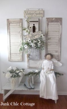 Salvaged Shutters Wall Display - Junk Chic Cottage