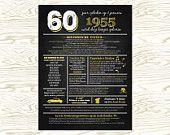 Dutch 60th birthday personalized chalkboard poster 1955 events Nederlands 60ste verjaardag gepersonaliseerde print schoolbord gebeurtenissen