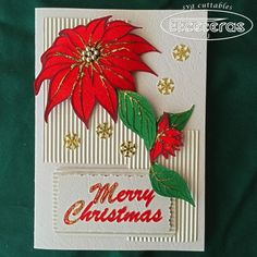 Create a unique handmade Poinsettia Christmas Card,  Complete with Envelope, from downloadable SVG FIle.  The  card measures about 5.5x8