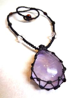 short organic AMETHYST macrame Necklace  Your by EarthCultured,