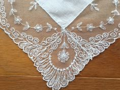 White Wedding Handkerchief / Hankie with Lace Edging
