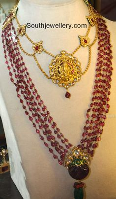 Ruby Strings Mala and Lord Ganesh Necklace