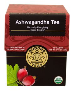 Buddha Teas organic Ashwagandha tea.  Also known as Indian Ginseng tea, and Winter Cherry tea.