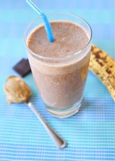Chocolate Peanut Butter Banana Smoothie: 1 c. milk, 1 frozen banana, 2 T. peanut butter, 2 T. cocoa powder, handful of ice