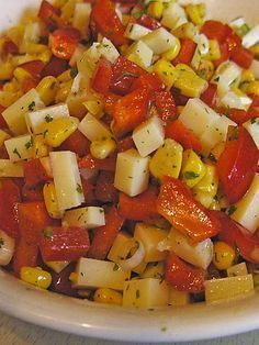 Cheese salad with corn and paprika - Rezepte - Salat Chef Salad Recipes, Seafood Recipes, Appetizer Recipes, Snack Recipes, Cooking Recipes, Healthy Recipes, Snacks, Healthy Gourmet, Crock Pot Recipes