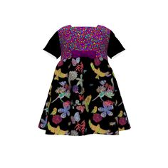 Puperita Hula Hoop Dress made with Spoonflower designs on Sprout Patterns. This fantasy floral frock is made with fabrics designed by Bloomingwyldeiris and Rhondadesigns.