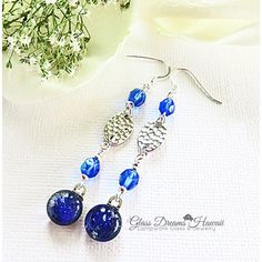 Lapis Blue Dangle Earrings, Fused Dichroic Glass Earrings ,Glass... ($35) ❤ liked on Polyvore featuring jewelry, earrings, boho chic jewelry, glass earrings, bohemian style jewelry, bohemian jewelry and dangle earrings