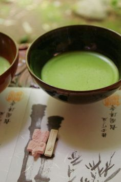 Maccha and higashi, It looks like good green goop, hot chocolate :/ what?