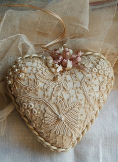 Vintage Style, Silk and Lace Heart~❥ <3 Ene 15 16 <3...pretty inspiration! This is a good project to practice Irish crochet on!