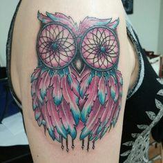#Owl dreamcatcher tattoo #markstrangetattoo.com