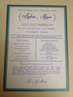 Wedding Reception/Ceremony Programs by TotallyChique on Etsy, $2.00