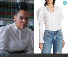 Annalises white puff sleeve blouse on HTGAWM Hudson Band. King Outfit, Daily Street Looks, Cropped Leather Jacket, Studded Heels, How To Get Away, Collar Top, Other Outfits, Costume Design, Street Wear