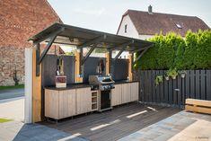 Outdoor Kitchen Patio, Outdoor Pergola, Outdoor Kitchen Design, Outdoor Living, Pergola Ideas, Outdoor Decor, Bbq Hut, Outdoor Grill Station, Garden Sink