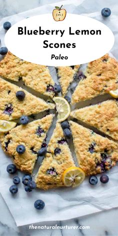 These Lemon Blueberry Paleo Scones are the perfect tasty, tangy breakfast treat! Great for dunking in coffee or handing to the kids on a busy morning, these wedges of yum are Paleo, dairy-free, gluten free, and grain-free! #scones #blueberryscones #paleorecipe #healthy @naturalnurturer | thenaturalnurturer.com Bisquick Recipes, Paleo Recipes, Real Food Recipes, Baking Recipes, Healthy Waffles, Healthy Treats, Healthy Kids, Paleo Dessert, Delicious Desserts