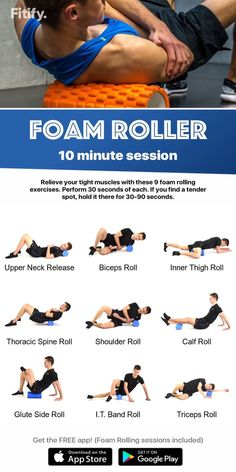health fitness - BEST Foam Rolling Exercises 10 minutes session by Fitify Fitness Workouts, Yoga Fitness, Sport Fitness, Health Fitness, Physical Fitness, Lean Body Workouts, Fitness App, Butt Workouts, Fitness Humor