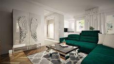 Projekt Iness-salon z butelkowo zieloną kanapą i szklana szafa ze skrzydłami Contemporary, Studio, Rugs, Home Decor, Living Room, Farmhouse Rugs, Decoration Home, Room Decor, Studios