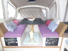 Dining area in pop up trailer