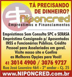 Niponcred Emprestimos Curitiba, Emprestimo Consignado e Pessoal é Aqui. - http://vcnotopo.com.br/classificados_curitiba/vendo_em_curitiba/niponcred-emprestimos-curitiba-emprestimo-consignado-pessoal