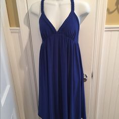 "Blue sundress Casual or dressy sundress in deep blue. Has lining and rope detail.about 38"" long. Essentials by ABS Dresses"