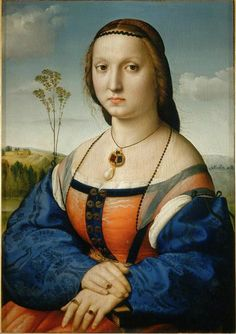 Raphael. Portrait of Maddalana Strozzi. 1506.Oil on wood. 63 cm × 45 cm (25 in × 18 in). Palazzo Pitti, Florence