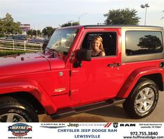 #HappyAnniversary to Kelli Patrick  on your 2013 #Jeep #Wrangler from Ron Sherrill at Huffines Chrysler Jeep Dodge Ram Lewisville!