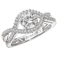 Enjoy the Captivating Design of this Split Shank Twist Diamond Semi Mount Engagement Ring set in 18k White Gold!