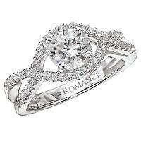 Enjoy the Captivating Design of this Split Shank Twist Diamond Semi Mount Engagement Ring set in 18k White Gold!