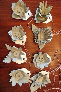 egg carton flower gift tags by me. http://JaneVille.blogspot.com