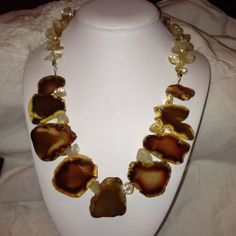 Chunky Brown Agate Stone Necklace by SallysCustomGlass on Etsy, $60.00