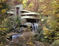 Located in Mill Run, Pennsylvania. The famous home was built in the 1930s over a waterfall by Frank Lloyd Wright for the Kaufmann family