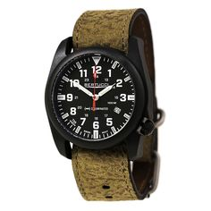 Bertucci 13504 Men's A-5P Illuminated Black Dial Brown Leather Strap Watch