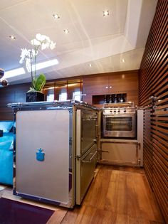 Offine Gullo bespoke kitchen outfitted in mega sail boat.  #interiordesign #beautiful #interiors #follow #bestoftheday #photooftheday #like #architecture #homedesign #lifestyle #style #decorating #interiordecorating #kitchen #officinegullo #appliances #ranges #kitchendesign #cooking #italian