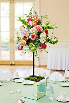 floral arrangement on candelabra - Google Search
