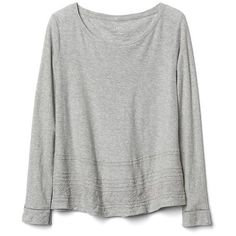 Gap Women Embroidered Long Sleeve Swing Top (850 UYU) ❤ liked on Polyvore featuring tops, sweaters, shirts, long sleeves, new heather grey, regular, long sleeve swing top, gap tops, round neck shirt and embroidered long sleeve shirts